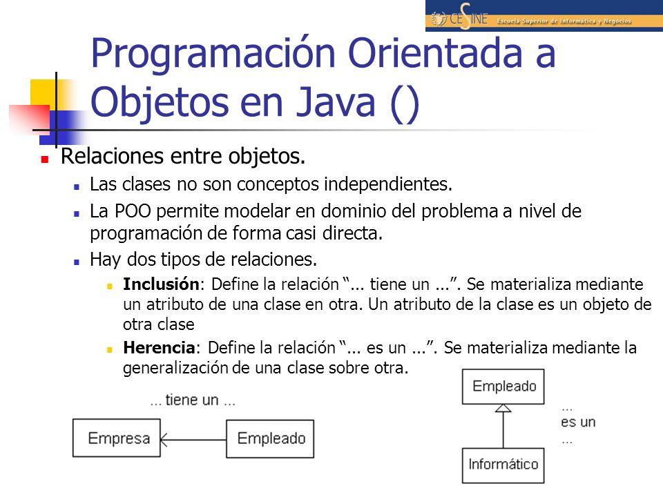 Programación Orientada a Objetos en Java () Relaciones entre objetos. Las clases no son conceptos independientes. La POO permite modelar en dominio de