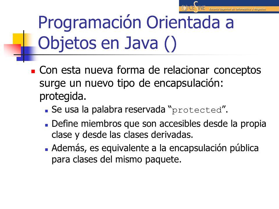 Programación Orientada a Objetos en Java () Con esta nueva forma de relacionar conceptos surge un nuevo tipo de encapsulación: protegida. Se usa la pa
