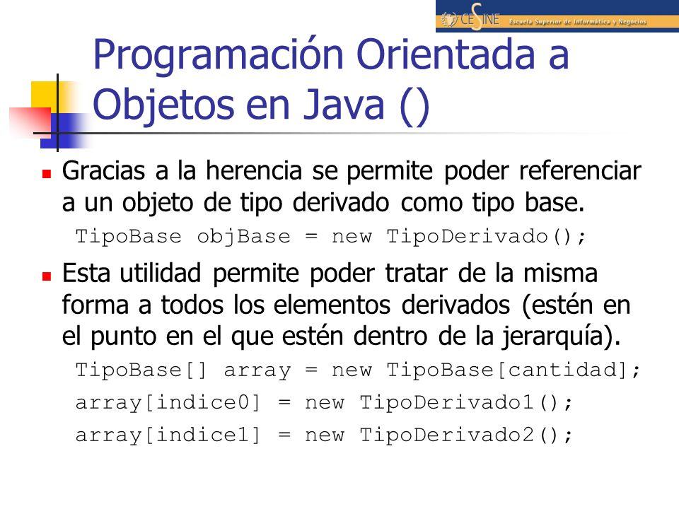 Programación Orientada a Objetos en Java () Gracias a la herencia se permite poder referenciar a un objeto de tipo derivado como tipo base. TipoBase o