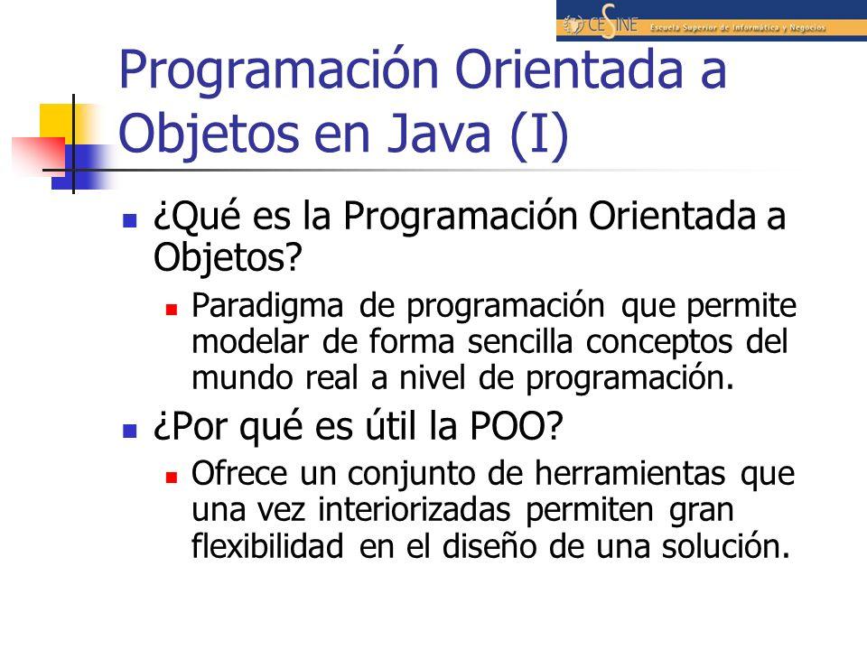 Programación Orientada a Objetos en Java (I) ¿Qué es la Programación Orientada a Objetos? Paradigma de programación que permite modelar de forma senci