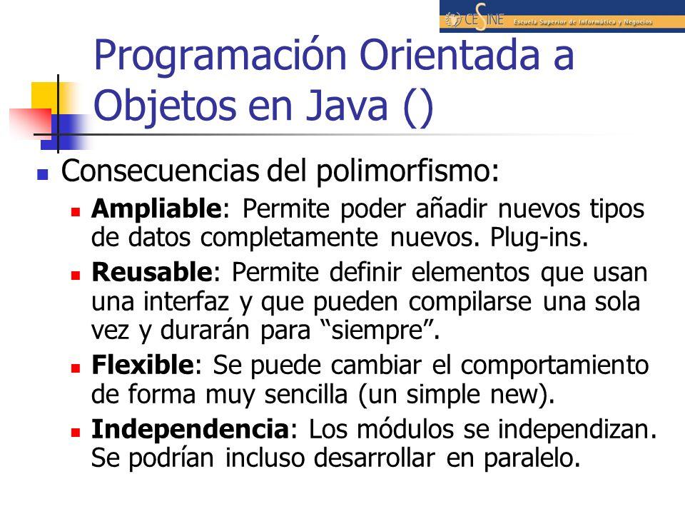 Programación Orientada a Objetos en Java () Consecuencias del polimorfismo: Ampliable: Permite poder añadir nuevos tipos de datos completamente nuevos