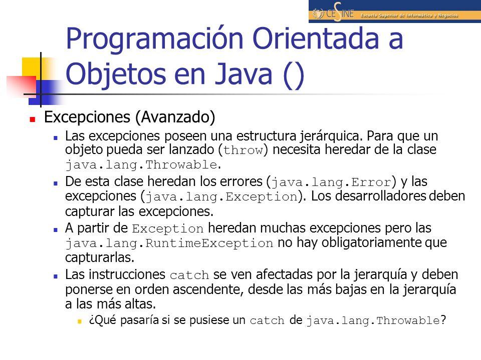 Programación Orientada a Objetos en Java () Excepciones (Avanzado) Las excepciones poseen una estructura jerárquica. Para que un objeto pueda ser lanz