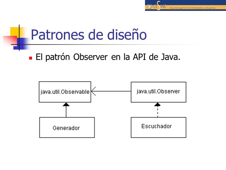 El patrón Observer en la API de Java.