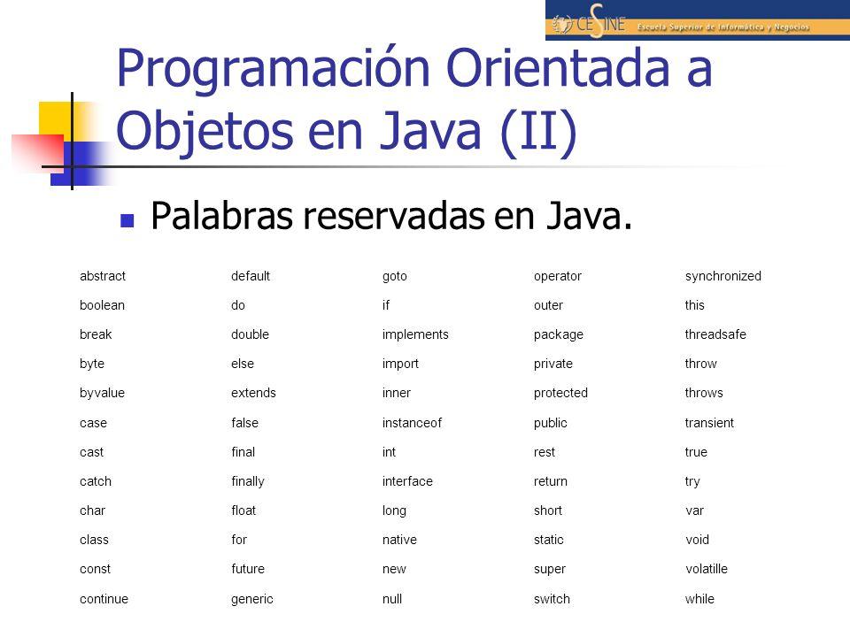 Programación Orientada a Objetos en Java (II) Palabras reservadas en Java. abstractdefaultgotooperatorsynchronized booleandoifouterthis breakdoubleimp