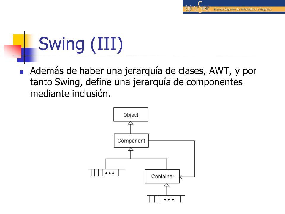 Swing (III) Además de haber una jerarquía de clases, AWT, y por tanto Swing, define una jerarquía de componentes mediante inclusión.