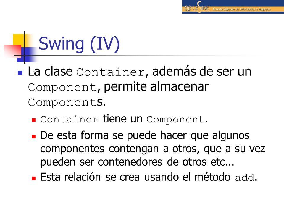 Swing (IV) La clase Container, además de ser un Component, permite almacenar Component s. Container tiene un Component. De esta forma se puede hacer q
