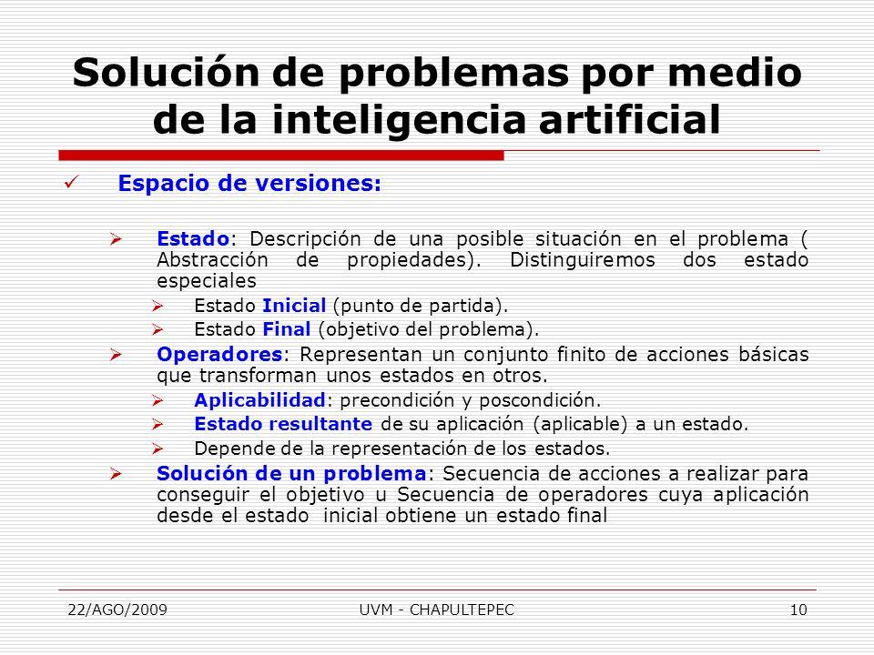 22/AGO/2009UVM - CHAPULTEPEC10 Espacio de versiones: Estado: Descripción de una posible situación en el problema ( Abstracción de propiedades). Distin