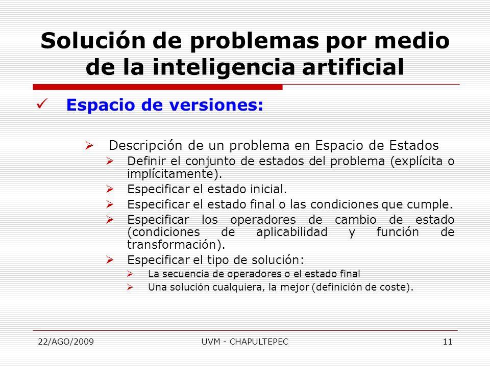 22/AGO/2009UVM - CHAPULTEPEC11 Espacio de versiones: Descripción de un problema en Espacio de Estados Definir el conjunto de estados del problema (exp