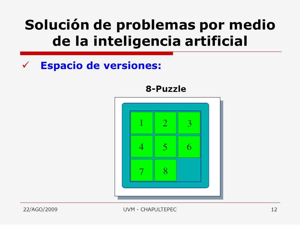 22/AGO/2009UVM - CHAPULTEPEC12 Espacio de versiones: 8-Puzzle Solución de problemas por medio de la inteligencia artificial