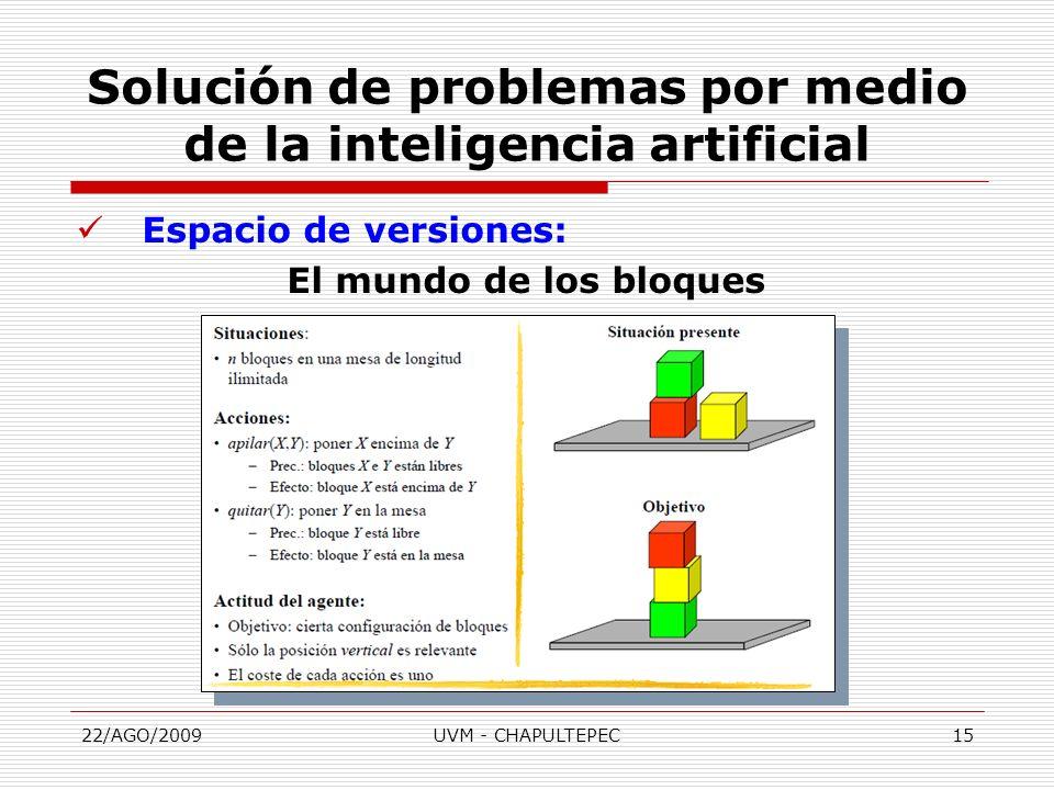22/AGO/2009UVM - CHAPULTEPEC15 Espacio de versiones: El mundo de los bloques Solución de problemas por medio de la inteligencia artificial