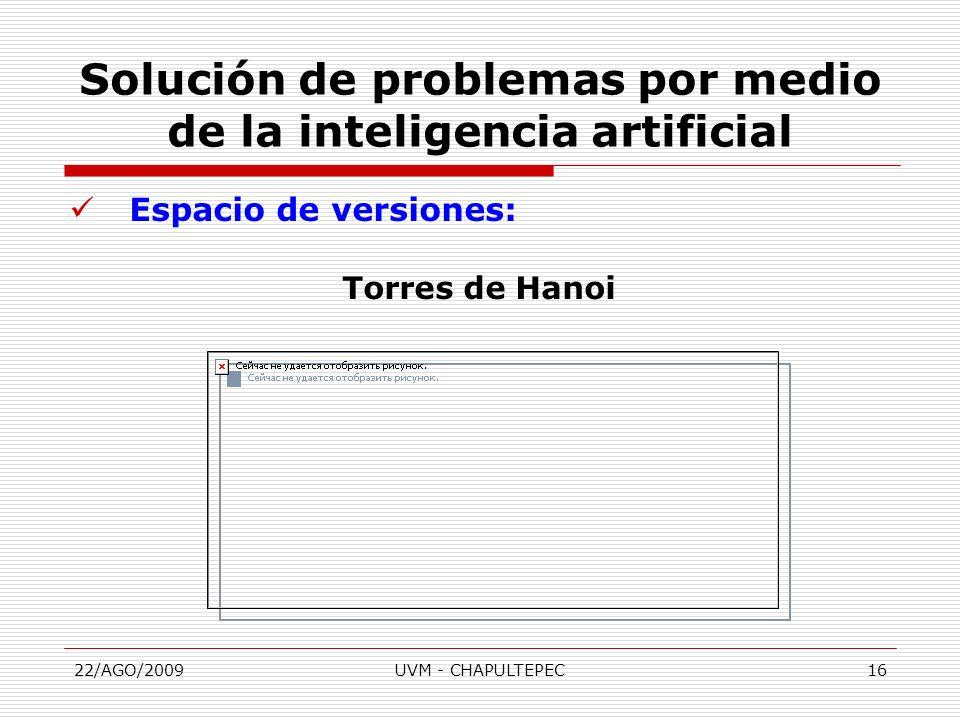 22/AGO/2009UVM - CHAPULTEPEC16 Espacio de versiones: Torres de Hanoi Solución de problemas por medio de la inteligencia artificial