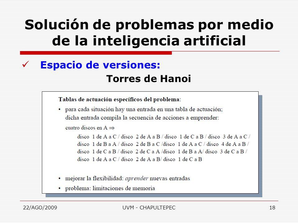 22/AGO/2009UVM - CHAPULTEPEC18 Espacio de versiones: Torres de Hanoi Solución de problemas por medio de la inteligencia artificial