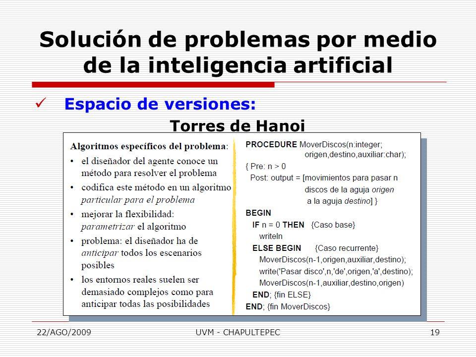 22/AGO/2009UVM - CHAPULTEPEC19 Espacio de versiones: Torres de Hanoi Solución de problemas por medio de la inteligencia artificial