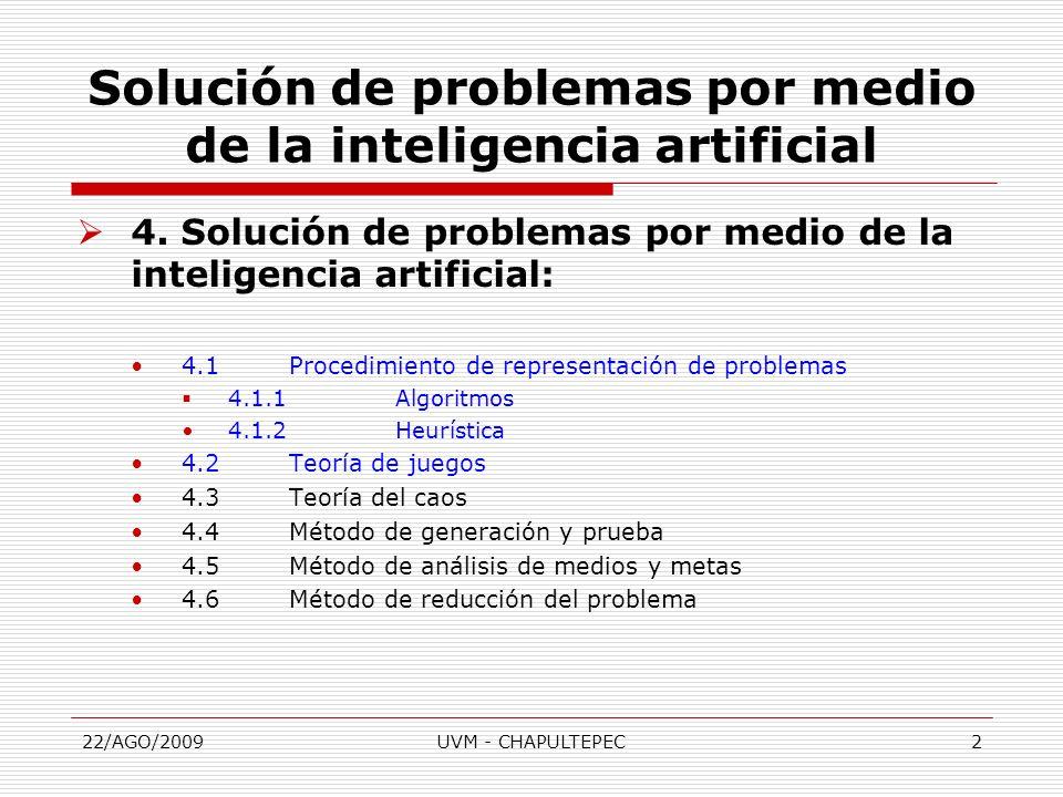 22/AGO/2009UVM - CHAPULTEPEC2 4. Solución de problemas por medio de la inteligencia artificial: 4.1Procedimiento de representación de problemas 4.1.1