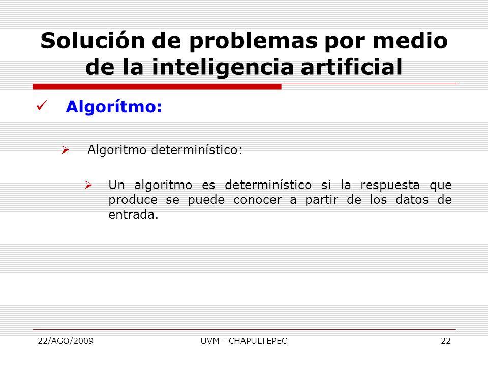 22/AGO/2009UVM - CHAPULTEPEC22 Algorítmo: Algoritmo determinístico: Un algoritmo es determinístico si la respuesta que produce se puede conocer a part