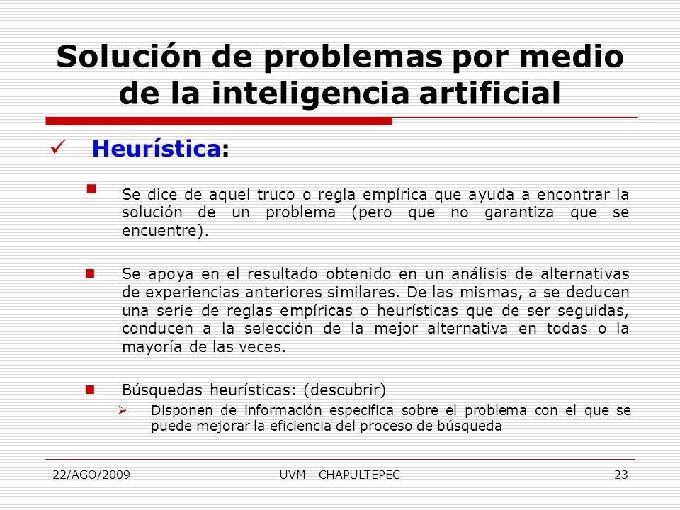 22/AGO/2009UVM - CHAPULTEPEC23 Heurística: Se dice de aquel truco o regla empírica que ayuda a encontrar la solución de un problema (pero que no garan