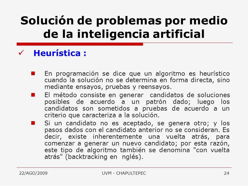 22/AGO/2009UVM - CHAPULTEPEC24 Heurística : En programación se dice que un algoritmo es heurístico cuando la solución no se determina en forma directa