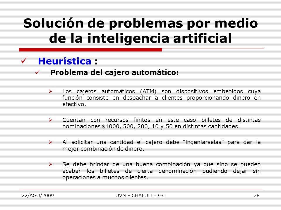 22/AGO/2009UVM - CHAPULTEPEC28 Heurística : Problema del cajero automático: Los cajeros automáticos (ATM) son dispositivos embebidos cuya función cons