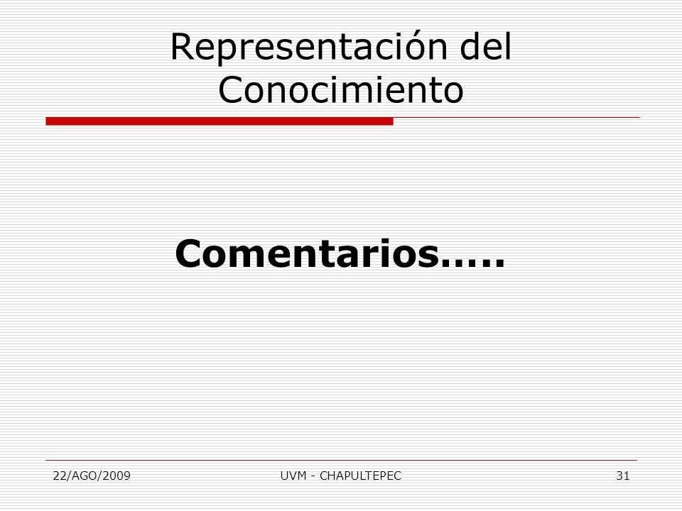 22/AGO/2009UVM - CHAPULTEPEC31 Comentarios….. Representación del Conocimiento