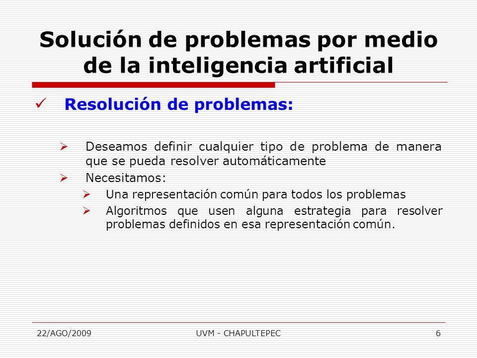 22/AGO/2009UVM - CHAPULTEPEC7 Resolución de problemas: Definición de un Problema: Si abstraemos los elementos de un problema podemos identificar: Un punto de partida.
