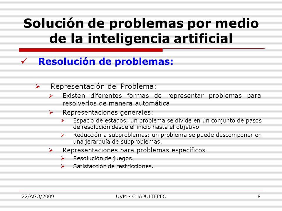 22/AGO/2009UVM - CHAPULTEPEC8 Resolución de problemas: Representación del Problema: Existen diferentes formas de representar problemas para resolverlo