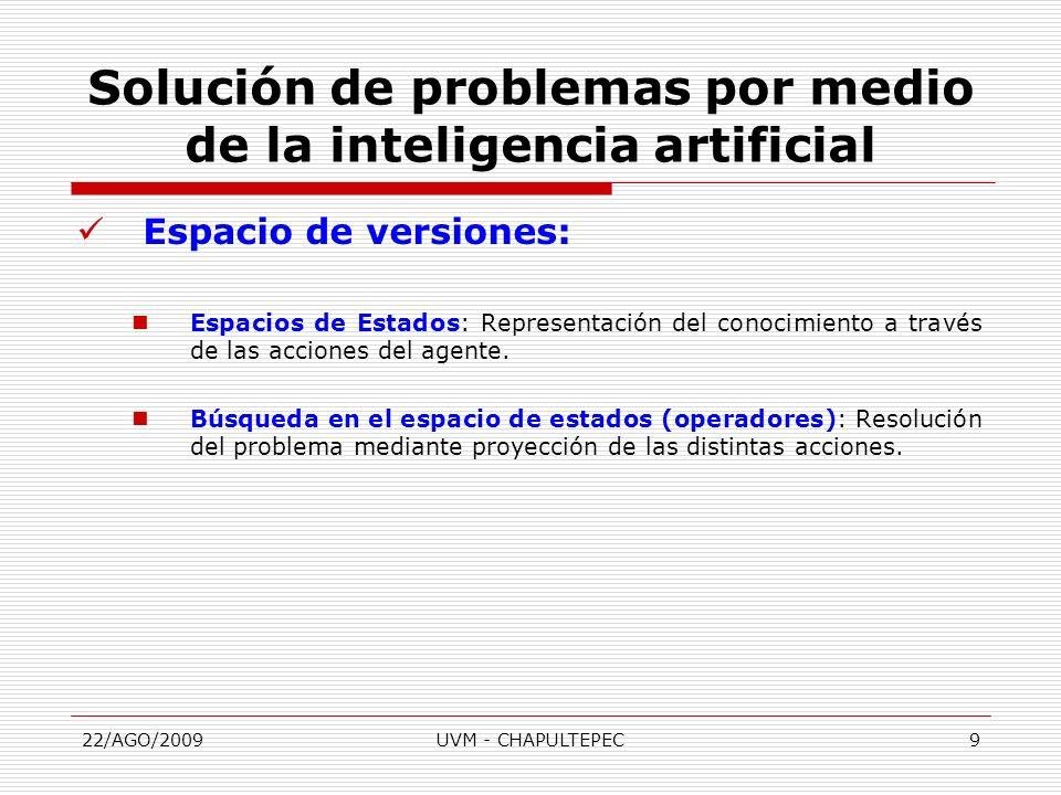22/AGO/2009UVM - CHAPULTEPEC10 Espacio de versiones: Estado: Descripción de una posible situación en el problema ( Abstracción de propiedades).