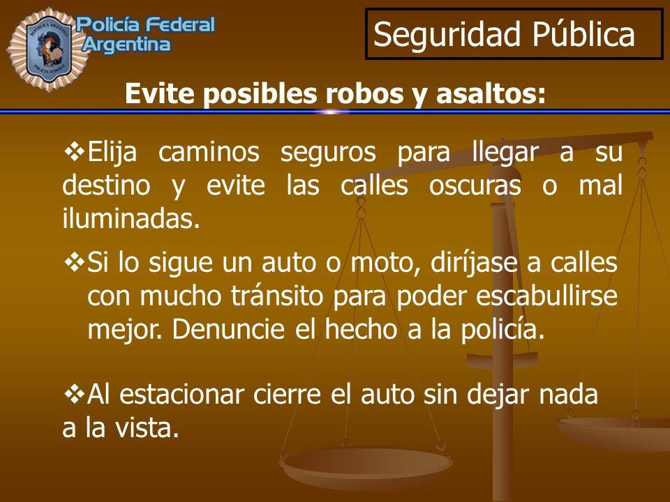 Seguridad Pública Elija caminos seguros para llegar a su destino y evite las calles oscuras o mal iluminadas. Si lo sigue un auto o moto, diríjase a c
