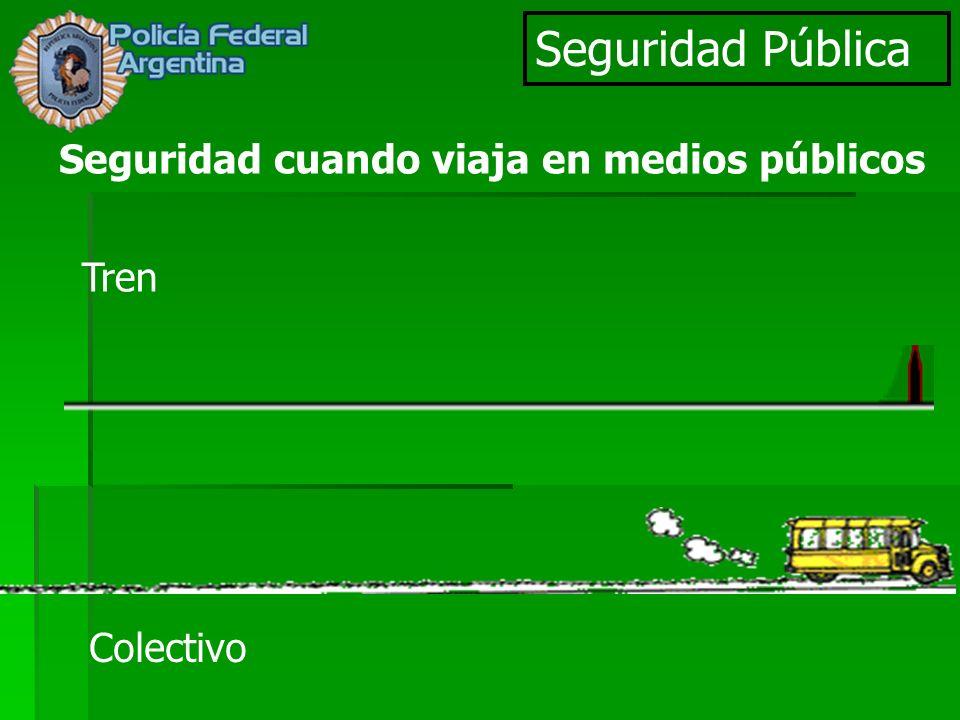 Seguridad Pública Seguridad cuando viaja en medios públicos Tren Colectivo