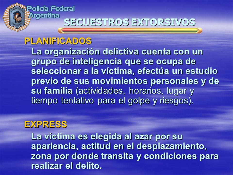 PLANIFICADOS La organización delictiva cuenta con un grupo de inteligencia que se ocupa de seleccionar a la víctima, efectúa un estudio previo de sus