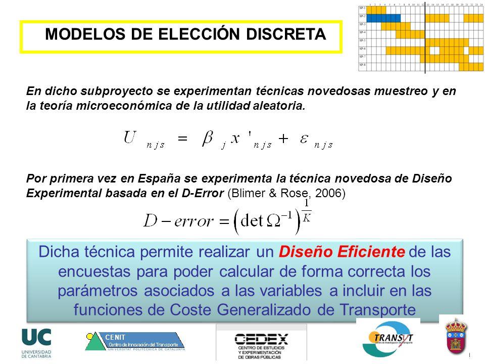 MODELOS DE ELECCIÓN DISCRETA En dicho subproyecto se experimentan técnicas novedosas muestreo y en la teoría microeconómica de la utilidad aleatoria.