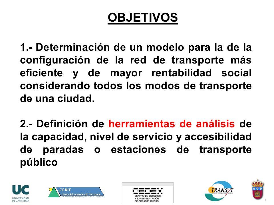 1.- Determinación de un modelo para la de la configuración de la red de transporte más eficiente y de mayor rentabilidad social considerando todos los modos de transporte de una ciudad.