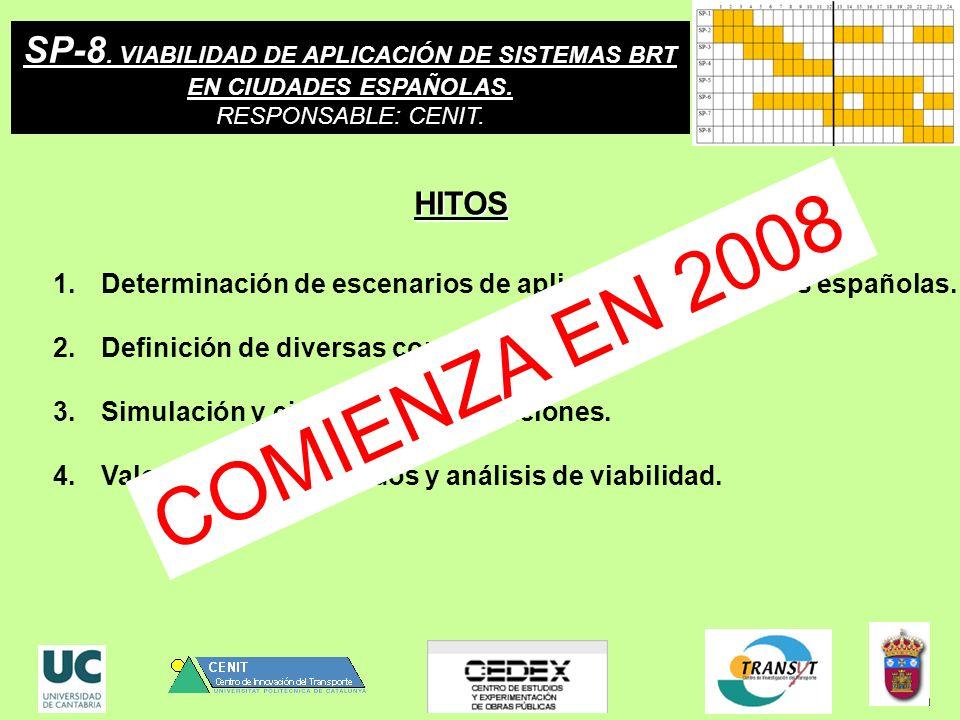 SP-8. VIABILIDAD DE APLICACIÓN DE SISTEMAS BRT EN CIUDADES ESPAÑOLAS. RESPONSABLE: CENIT. 1.Determinación de escenarios de aplicación en ciudades espa