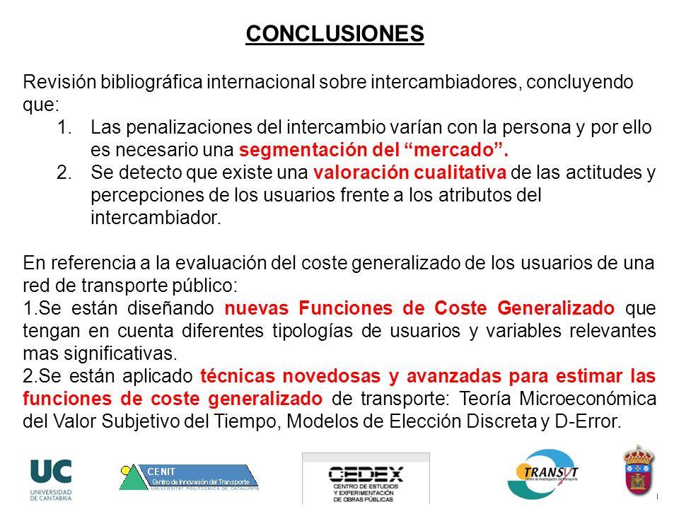 Revisión bibliográfica internacional sobre intercambiadores, concluyendo que: 1.Las penalizaciones del intercambio varían con la persona y por ello es necesario una segmentación del mercado.