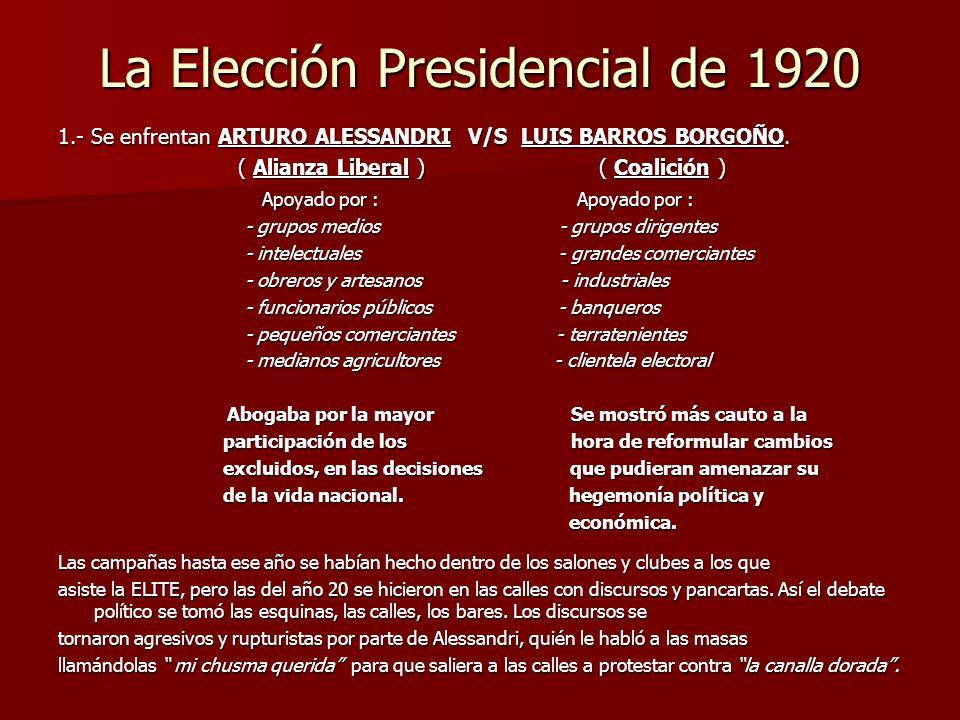 La Elección Presidencial de 1920 1.- Se enfrentan ARTURO ALESSANDRI V/S LUIS BARROS BORGOÑO. ( Alianza Liberal ) ( Coalición ) ( Alianza Liberal ) ( C