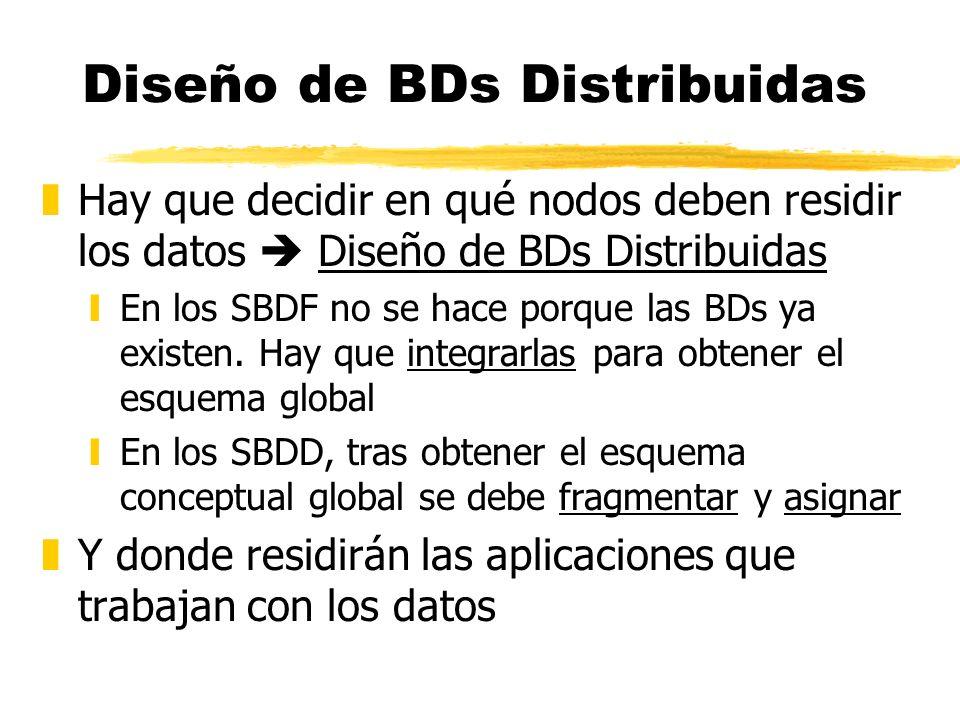 Diseño de BDs Distribuidas zHay que decidir en qué nodos deben residir los datos Diseño de BDs Distribuidas yEn los SBDF no se hace porque las BDs ya