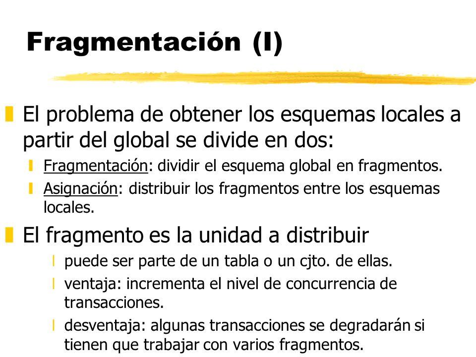 Fragmentación (I) zEl problema de obtener los esquemas locales a partir del global se divide en dos: yFragmentación: dividir el esquema global en frag