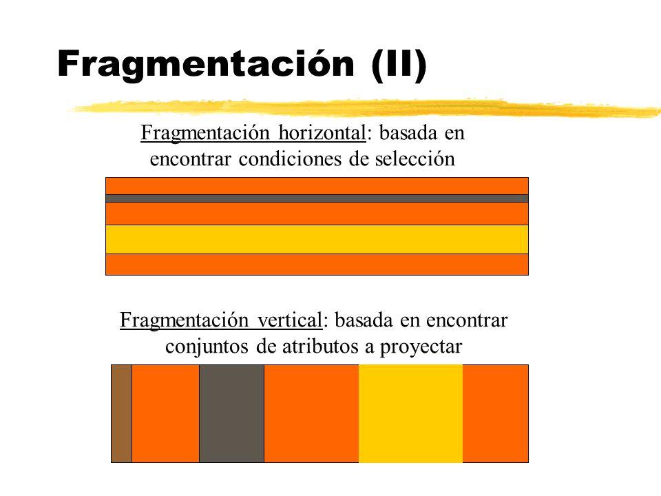 Fragmentación (II) Fragmentación vertical: basada en encontrar conjuntos de atributos a proyectar Fragmentación horizontal: basada en encontrar condic