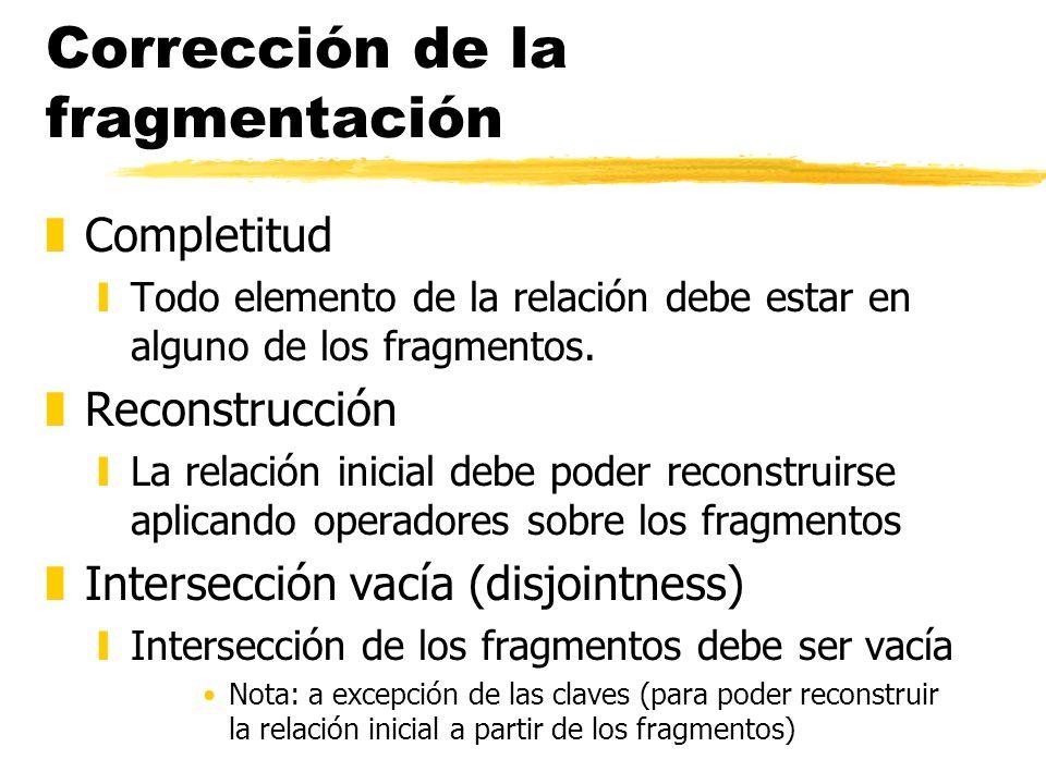 Corrección de la fragmentación zCompletitud yTodo elemento de la relación debe estar en alguno de los fragmentos. zReconstrucción yLa relación inicial