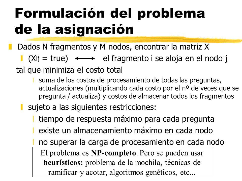 Formulación del problema de la asignación zDados N fragmentos y M nodos, encontrar la matriz X y(X ij = true) el fragmento i se aloja en el nodo j tal