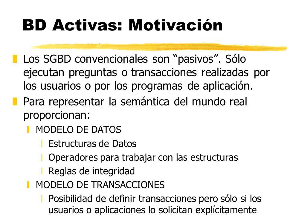 BD Activas: Motivación zLos SGBD convencionales son pasivos. Sólo ejecutan preguntas o transacciones realizadas por los usuarios o por los programas d