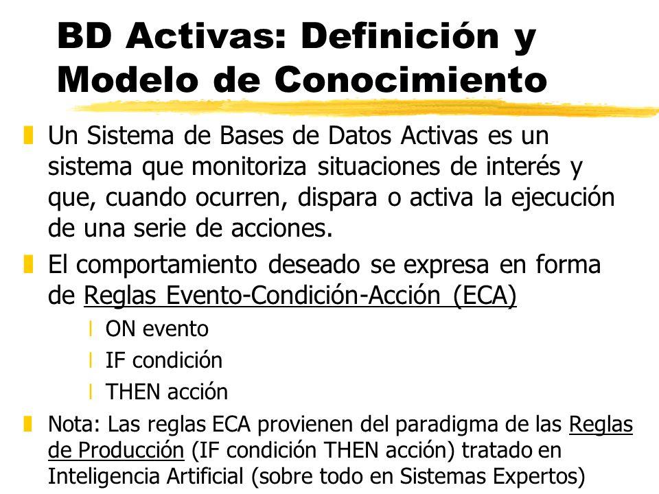 BD Activas: Definición y Modelo de Conocimiento zUn Sistema de Bases de Datos Activas es un sistema que monitoriza situaciones de interés y que, cuand