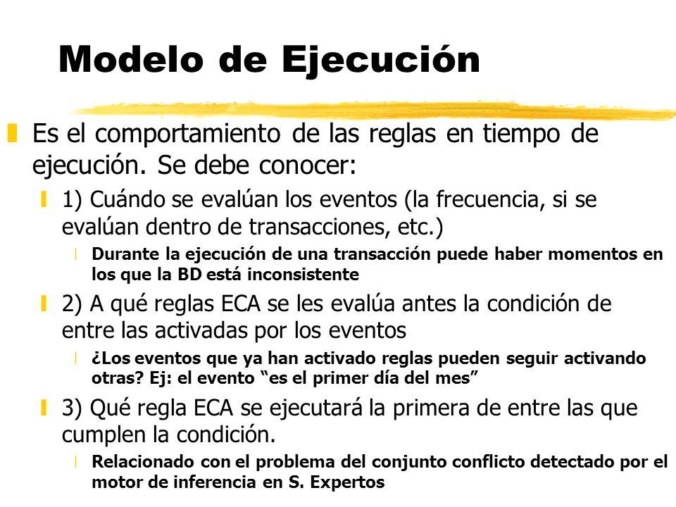 Modelo de Ejecución zEs el comportamiento de las reglas en tiempo de ejecución. Se debe conocer: y1) Cuándo se evalúan los eventos (la frecuencia, si