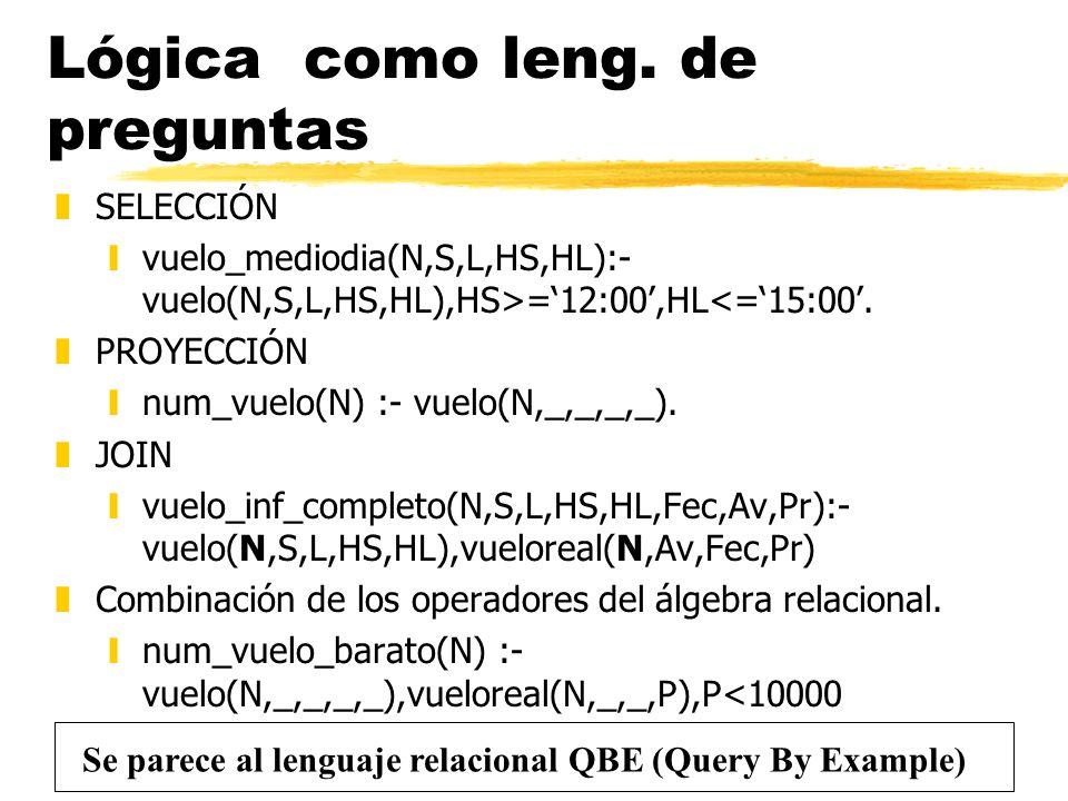 Lógica como leng. de preguntas zSELECCIÓN yvuelo_mediodia(N,S,L,HS,HL):- vuelo(N,S,L,HS,HL),HS>=12:00,HL<=15:00. zPROYECCIÓN ynum_vuelo(N) :- vuelo(N,