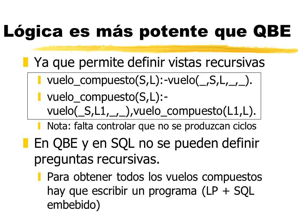 Lógica es más potente que QBE zYa que permite definir vistas recursivas yvuelo_compuesto(S,L):-vuelo(_,S,L,_,_). yvuelo_compuesto(S,L):- vuelo(_S,L1,_