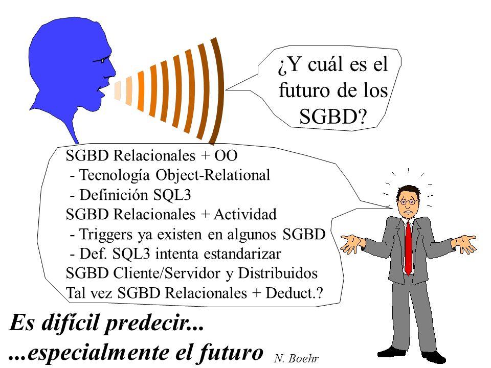 ¿Y cuál es el futuro de los SGBD? Es difícil predecir......especialmente el futuro SGBD Relacionales + OO - Tecnología Object-Relational - Definición