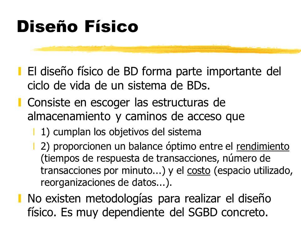 yEl diseño físico de BD forma parte importante del ciclo de vida de un sistema de BDs. yConsiste en escoger las estructuras de almacenamiento y camino