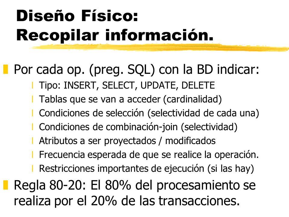 Diseño Físico: Recopilar información. zPor cada op. (preg. SQL) con la BD indicar: xTipo: INSERT, SELECT, UPDATE, DELETE xTablas que se van a acceder