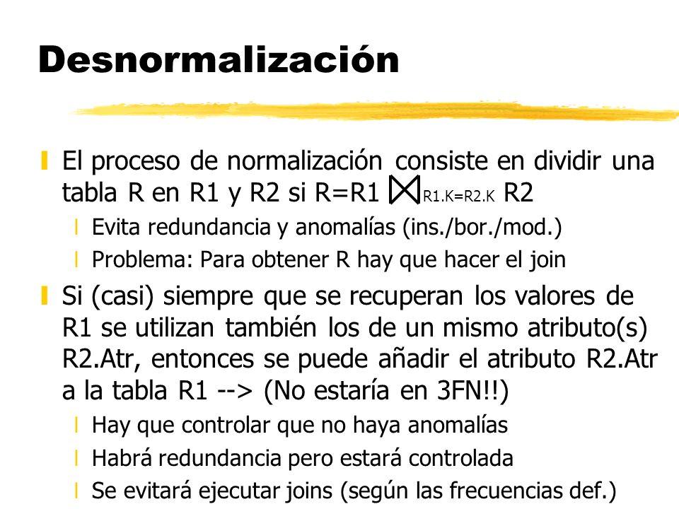 Desnormalización yEl proceso de normalización consiste en dividir una tabla R en R1 y R2 si R=R1 R1.K=R2.K R2 xEvita redundancia y anomalías (ins./bor
