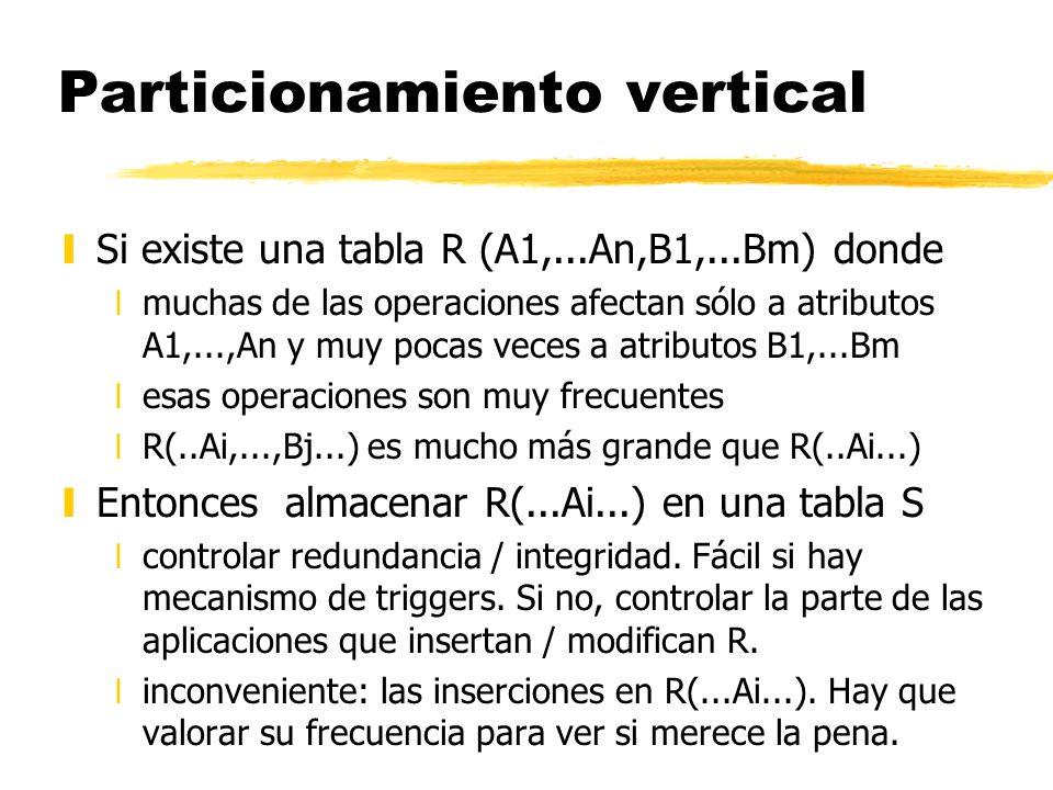 Particionamiento vertical ySi existe una tabla R (A1,...An,B1,...Bm) donde xmuchas de las operaciones afectan sólo a atributos A1,...,An y muy pocas v
