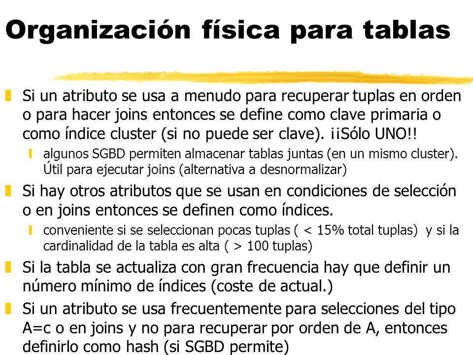 Organización física para tablas zSi un atributo se usa a menudo para recuperar tuplas en orden o para hacer joins entonces se define como clave primar